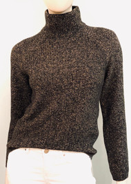 Max Mara High Neck Long Sleeve Laccato Wool Sweater