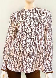 Max Mara Leticia Silk Chain Printed Top in Tobacco