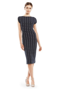 Lela Rose Dot Pattern Fitted Dress