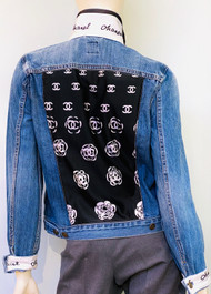 Designer Embellished Denim Jacket - Denim with Black and White
