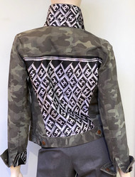 Designer Embellished Denim Jacket - Camo with Black and White