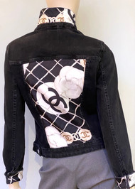 Designer Embellished Denim Jacket - Black with White Floral