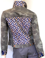 Designer Embellished Denim Jacket - Camo with Blue