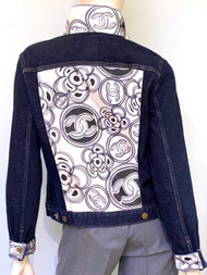 Designer Embellished Denim Jacket - Floral Drawings Black and White