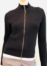 Fabiana Filippi Ribbed Knit Dual Zip Cardigan in Black