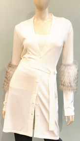 Lapointe Silk Cashmere Long Cardigan with Fox Fur Sleeve Accents in Ivory