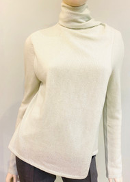 Lapointe Cashmere Scarf Neck Sweater in Mint