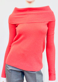 Lapointe Cashmere Cowl Neck Sweater in Raspberry