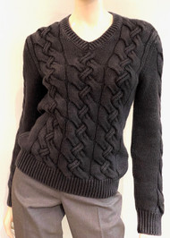 Iris Von Arnim Cable Knit Cashmere V-Neck Sweater in Black