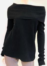 Lapointe Cashmere Cowl Neck Sweater in Black