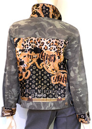 Designer Embellished Denim Jacket - Camo with Mixed Print
