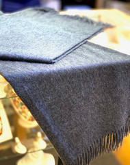 Begg & Co Arran Cashmere Fringed Throw In Dark Grey