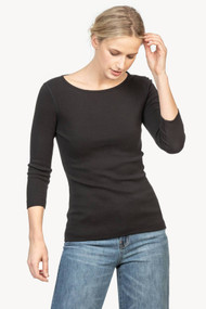 Lilla | P ¾ Length Sleeve Top in Black