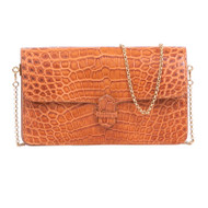 *TRUNK SHOW* Cape Cobra Leathercraft Accordion Crossbody Wallet in Luggage Crocodile