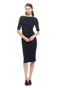 Lela Rose Linear Tulip Stretch Jacquard Dress