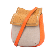 *TRUNK SHOW* Cape Cobra Leathercraft Fallow Crossbody Bag in Tangerine and Antique Saddle Ostrich with Canvas