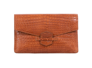 *TRUNK SHOW* Cape Cobra Leathercraft Ivy Clutch in Cognac Crocodile