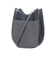 *PRE-ORDER* Cape Cobra Leathercraft Capri Crossbody Bag in Dark Grey Ostrich Leg and Anthracite Ostrich