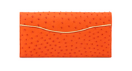 *TRUNK SHOW* Cape Cobra Leathercraft Sahara Clutch in Papaya Ostrich with Gold Ostrich Trim