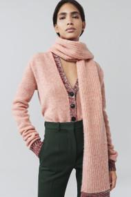 Victoria Beckham Contrast Trim V-Neck Wool Cardigan with Scarf in Pink Melange