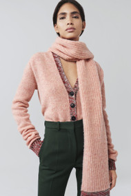 Victoria Beckham Contrast Trim V-Neck Wool Cardigan with Scarf in Pink Melange