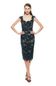 Lela Rose Leaf Guipure Lace Scalloped Scoop Neck Dress