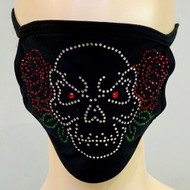 *PRE-ORDER* Rhinestone Embellished Mask - Skull and Roses