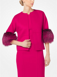 Michael Kors Fox-Fur Cuffed Cashgora Jacket