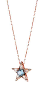 Selim Mouzannar Istanbul Star Pendant in Pink Gold Set with Diamonds and Aquamarine
