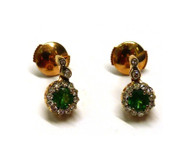 Selim Mouzannar Beirut Earrings in Pink Gold Set with Diamonds and Tsavorites