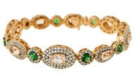 Selim Mouzannar Bracelet in Pink Gold Set with Diamonds, Morganites and Tsavorites