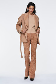 Dorothee Schumacher Velour Softness Suede Flared Pants in Camel
