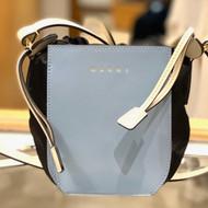 Marni Color-Block Gusset Shoulder Bag in Smoke Blue