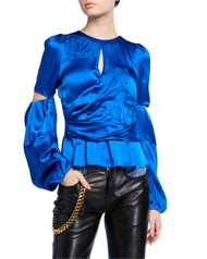 *PRE-ORDER* Hellessy Draped Satin Celeste Blouse in Azure