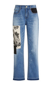 Hellessy Mcaulay Straight Leg Tiger-Patch Distressed Jeans