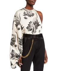*PRE-ORDER* Hellessy Renata One Sleeve Drape Tiger Print Top in Pewter/Black