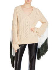 Hellessy Hazel V-Neck Sweater with Fringe in Blond Shimmer