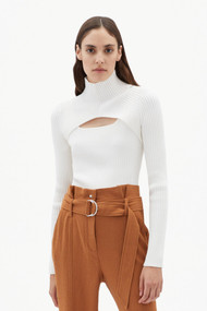 Jonathan Simkhai Miliana Compact Knit Cutout Turtleneck Top in White