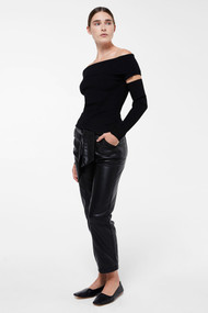 Jonathan Simkhai Zayla Compact Knit Off the Shoulder Sweater in Black