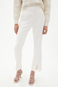 Jonathan Simkhai Antonella Woven Front Slit Crop Pants in White