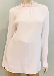 Marni Crepe Puckered Neck Blouse in Lily White