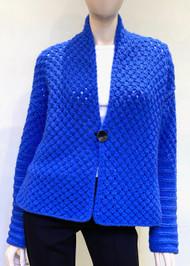Iris Von Arnim Enzian Handknit Cashmere Jacket in Blue