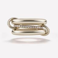*PRE-ORDER* Spinelli Kilcollin 18K Yellow Gold Libra 3 Link Ring with Diamonds