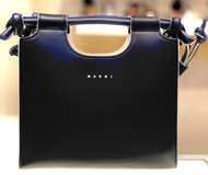 Marni Open Top Calf Leather Tote Bag in Black and Ocean