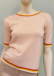 Marni Wool Knit Crewneck Sweater with Stripe Trim Pattern in Rose