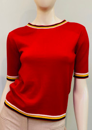 Marni Wool Knit Crewneck Sweater with Stripe Trim Pattern in Tulip