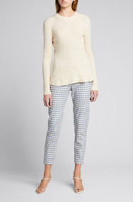 Altuzarra Frankie Cashmere Ribbed Peplum Sweater in Ivory