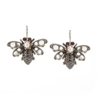 *TRUNK SHOW* Sylva & Cie. 18K Gold, Diamond and Ruby Bee Earrings
