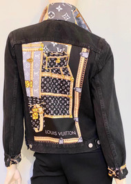 Designer Embellished Denim Jacket - Black/Multi
