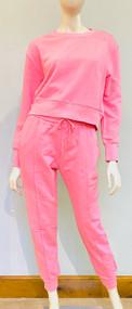 *PRE-ORDER* Jonathan Simkhai Jordi Terry Cropped Sweatshirt in Camellia Pink